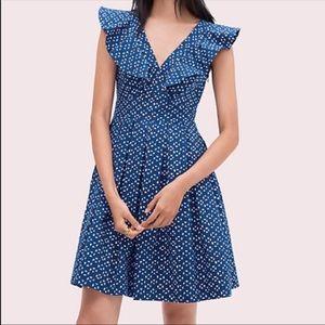 Kate Spade Geo Dot Poplin Ruffle Dress sz 12